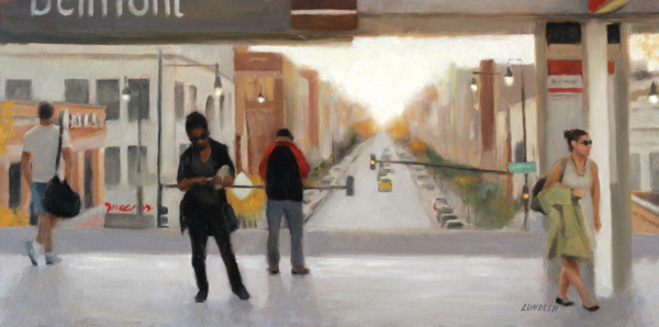 Natalie Lundeen, The Red Line, oil painting