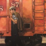 Joseph Lorusso, End of the Line, oil, 40 x 40.