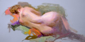Susan Lyon, Reclining Nude, oil, 10 x 14.