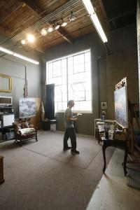 Jesse Powell at his art studio in Monterey, CA