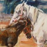 Lindsey Bittner Graham, Mama's Boy, oil, 8 x 8.