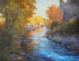 Margaret Jensen, The Big Thompson River in AutumnA View From the Bridge, oil, 16 x 20.