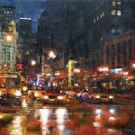 Mark Lague, Michigan Avenue at Night, oil, 24 x 36.