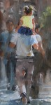 Mark Lagu, On Dads Shoulders, oil, 12 x 6.