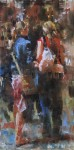 Mark Lagu, Paris Shopping, oil, 16 x 8.