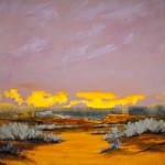 Mark White, Butte Morning, oil, 36 x 36.