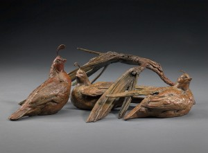 Walter Matia, Coveyed Quail, bronze, 6 x 18 x 13.