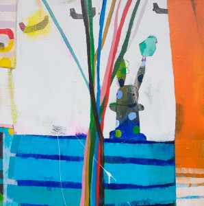 Wendeline Matson, Prairie and Boats, acrylic, 36 x 36.