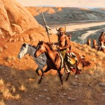 Frank McCarthy, Warriors Return, oil painting at the Jackson Hole Art Auction.