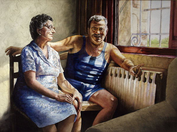 Rhonda McEnroe, When Giuseppe Speaks, watercolor, 22 x 30.