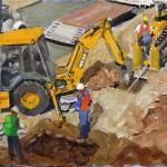 Clyde Steadman, Men at Work, oil painting