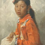 Mian Situ, Wa School Girl, oil, 12 x 9.