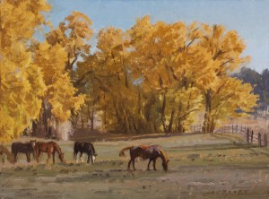Jay Moore, Grazing Among the Cottonwoods, oil painting