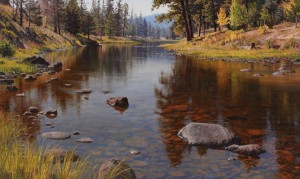 Jay Moore, Salmon Lake Outlet, oil, 30 x 50.