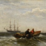 Edward Moran, Two Men in a Boat, oil, 7 x 16. Estimate: $15,000-$25,000.