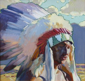 Sioux Man by John Moyers at Nedra Matteucci Galleries in Santa Fe.