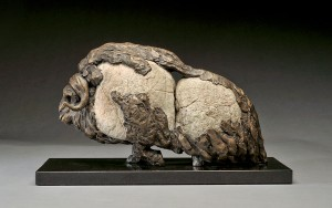 Pete Zaluzec | Musk Ox, river stone/bronze, 15 x 9 x 6.