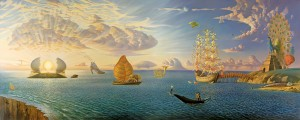 Vladimir Kush, Mythology of the Oceans and Heavens, oil, 39 x 99.