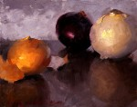 Nathaniel Skousen, Three Onions, oil, 8 x 10.