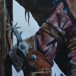 Nelson Boren, Worn In, watercolor, 44 x 22.