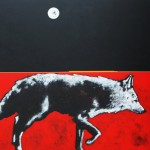Nocona Burgess, Full Moon Ghost Dog, acrylic, 48 x 48.