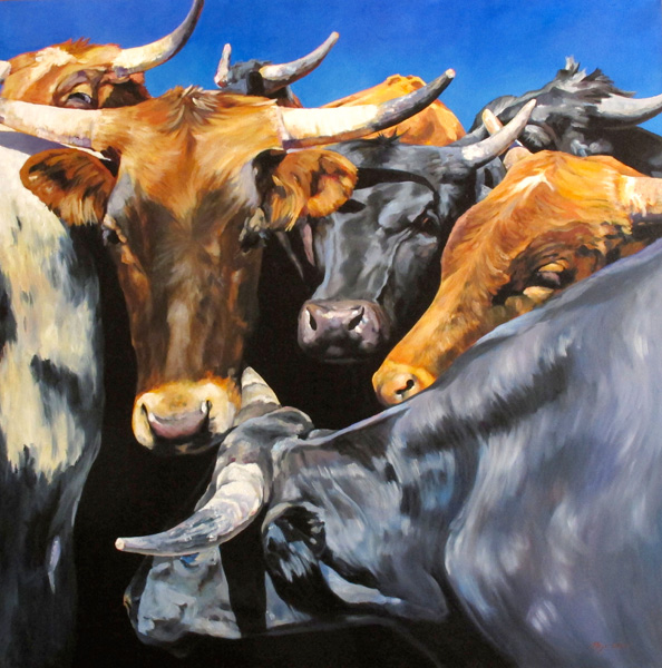 Mejo Okon, Ropin' Steers, oil, 48 x 48.