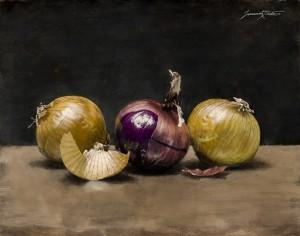 Jeremiah J. White, Onions, oil, 11 x 14.