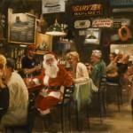 Other Christmas card (Santa at the Land Ho), oil, 16 x 20.