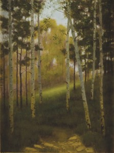 Deborah Paris, Summer Aspens, oil, 24 x 18.