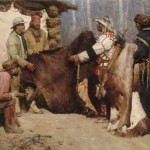 Z.S. Liang, Painted Robe for Powder and Ball, Musselshell Valley Montana, 1840, oil, 42 x 64.