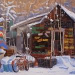 Patrick Duke, Camp 4 Coffee, oil, 9 x 12.