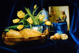 Arleta Pech, Bread and Milk With Vermeer, oil, 30 x 44.