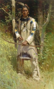 Z.S. Liang, Peigan Warrior, oil, 46 x 28.
