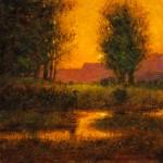 Tom Perkinson, Blue Heron at Sunset, oil, 10 x 10.