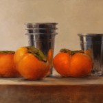 Erin Schulz, Persimmon Reflection, oil still-life painting
