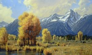 Robert Peters, Autumn in the West, oil, 30 x 50.