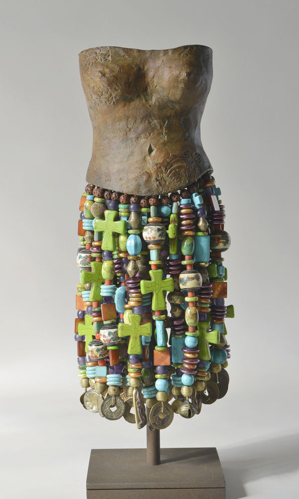 Stacy Phillips, Sophia, bronze/turquoise/pearls/silver, 16 x 5 x 5.