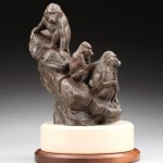 Daniel Glanz, Dog Monkey (Olive Baboons), bronze, 12.5 x 9 x 8.