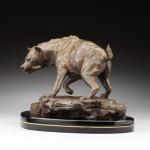Daniel Glanz, Opportunist (Spotted Hyena), bronze, 11 x 16 x 9.
