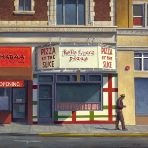 Pizza by the Slice, oil, 18 x 18.