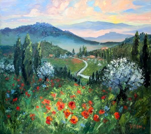 Evelyne Boren, Poppy Field at Sunrise, oil, 42 x 48.