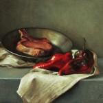 Michael DeVore, Pork Chop and Poblanos, oil, 16 x 14.