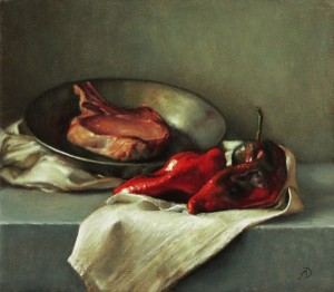 Michael DeVore, Pork Chop and Poblanos, oil, 16 x 14.
