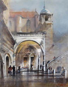 Thomas W. Schaller, Portico Assisi, watercolor, 24 x 18.