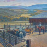Howard Post, Gathering with the Strawberry Roan, oil, 30 x 40.