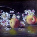 Joan Potter, Apricot Blossoms, oil, 8 x 16.