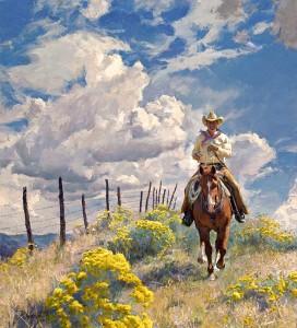 R.S. Riddick, Chamisa Line Rider, oil, 40 x 36.