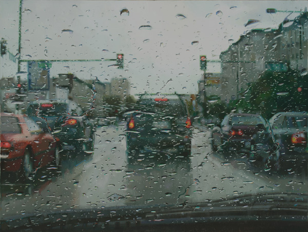 Dianne Massey-Dunbar, Rain on Windshield, oil, 18 x 24.