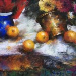 Ramon Kelley, Still Life With Brass and Oranges, oil, 18 x 27.