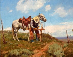 Grant Redden, Fixing Fence, oil western painting